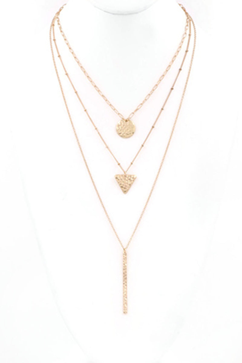 Layered Shape Drop Necklace-Worn Gold