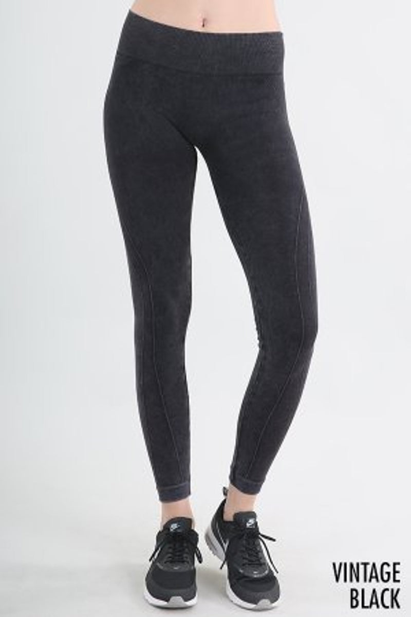 Vintage Moto Long Leggings-Vintage Black