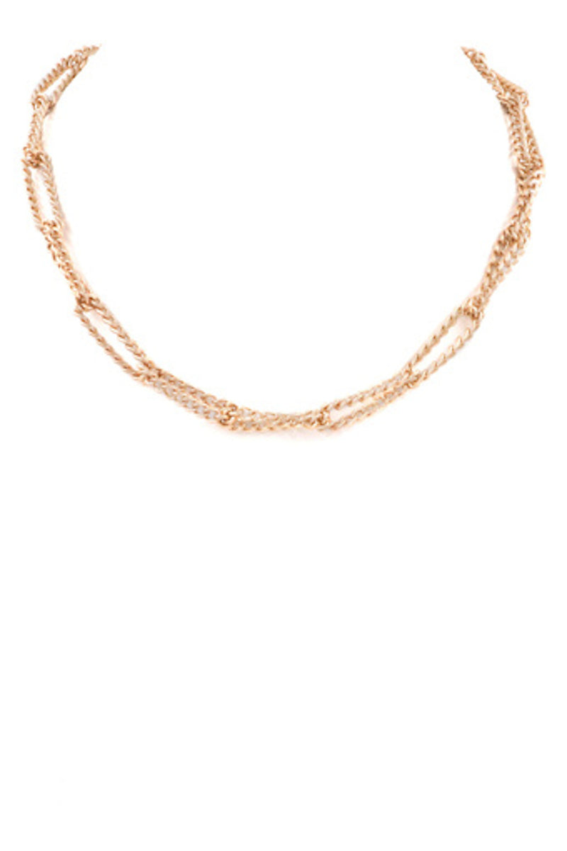Chain Choker Necklace-Worn Gold