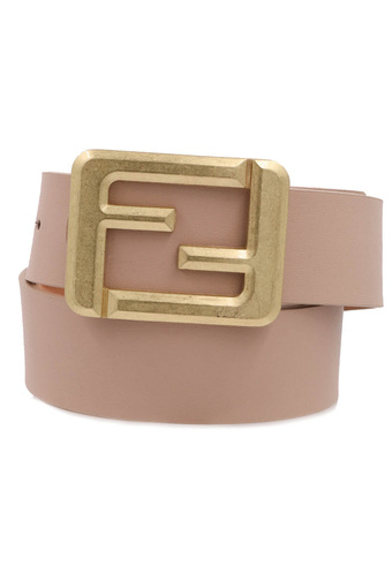 Square Buckle Belt-Taupe