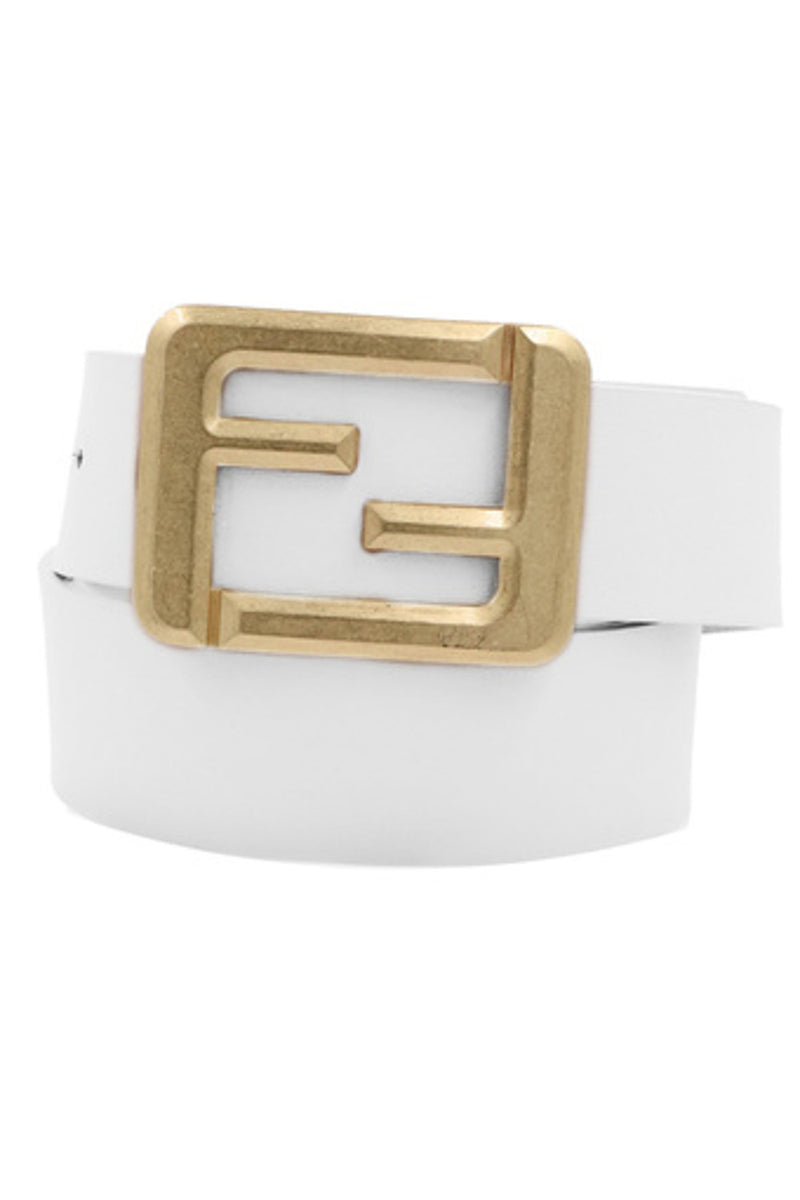 Square Buckle Belt-White