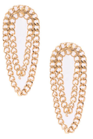 Metal Open Hoop Earrings- Gold