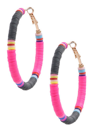 Rubber Hoop Earrings-Blue