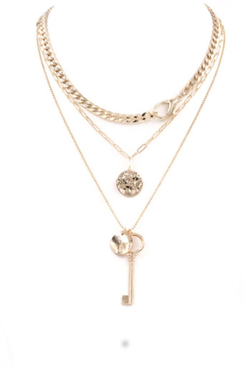 Chain Lock Necklace-Gold