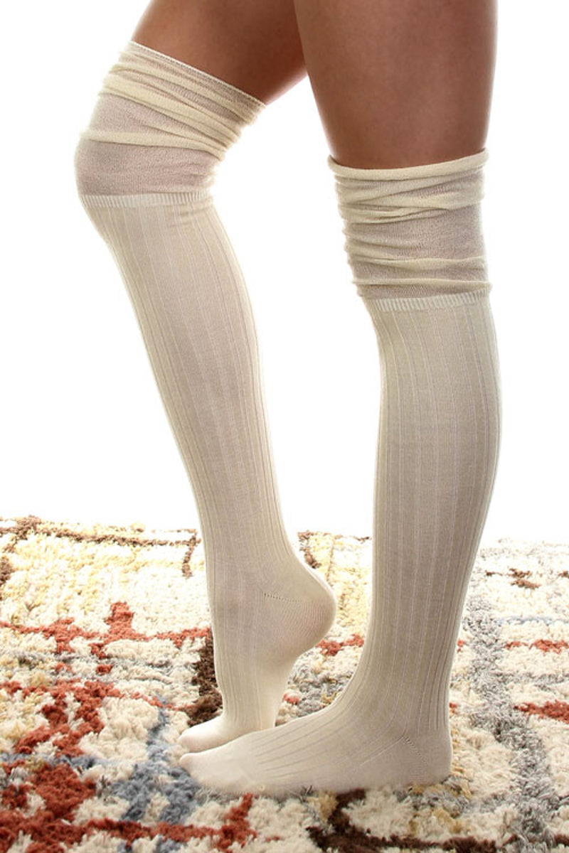 Jersey Over The Knee Socks-Cream