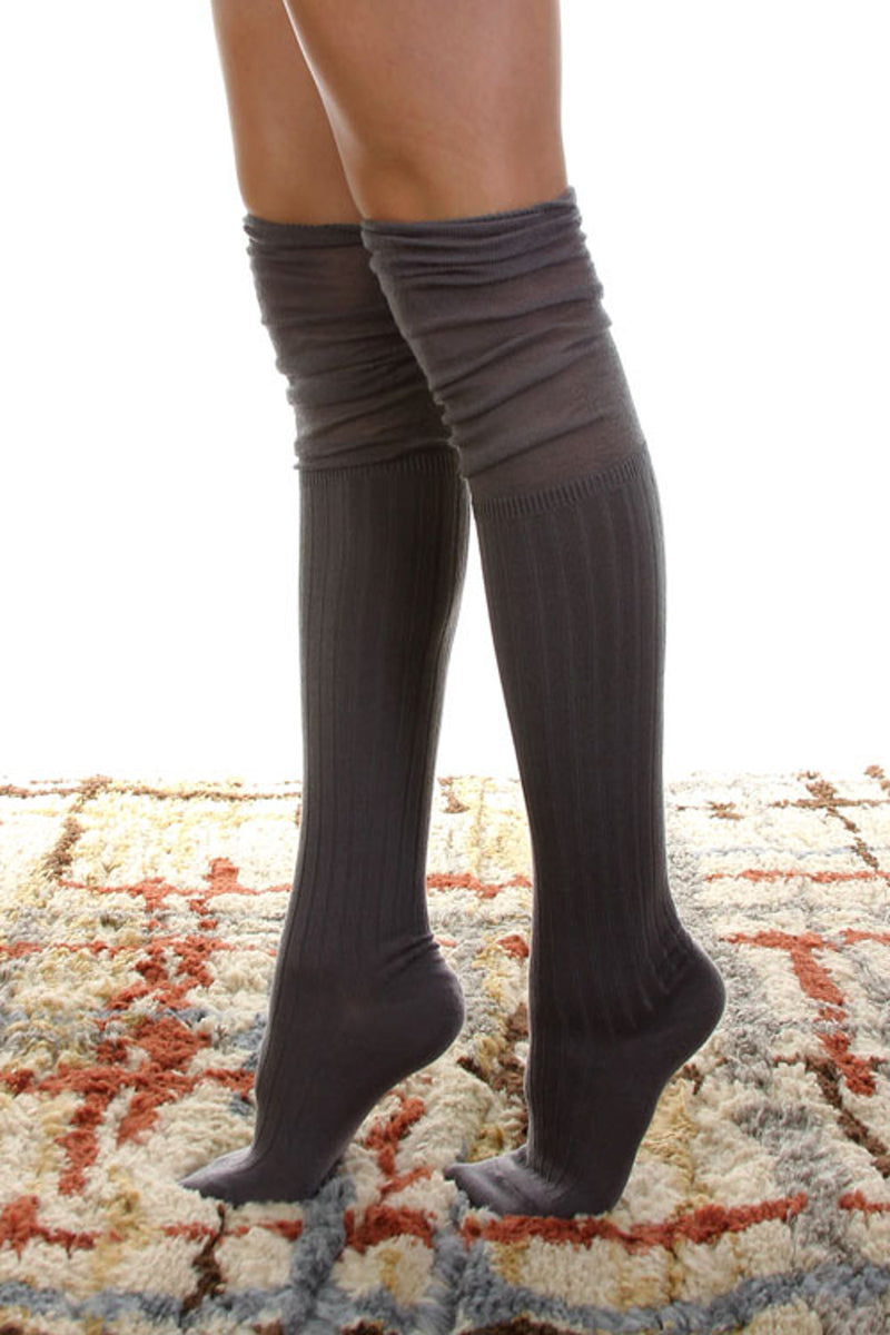 Jersey Over The Knee Socks-Grey