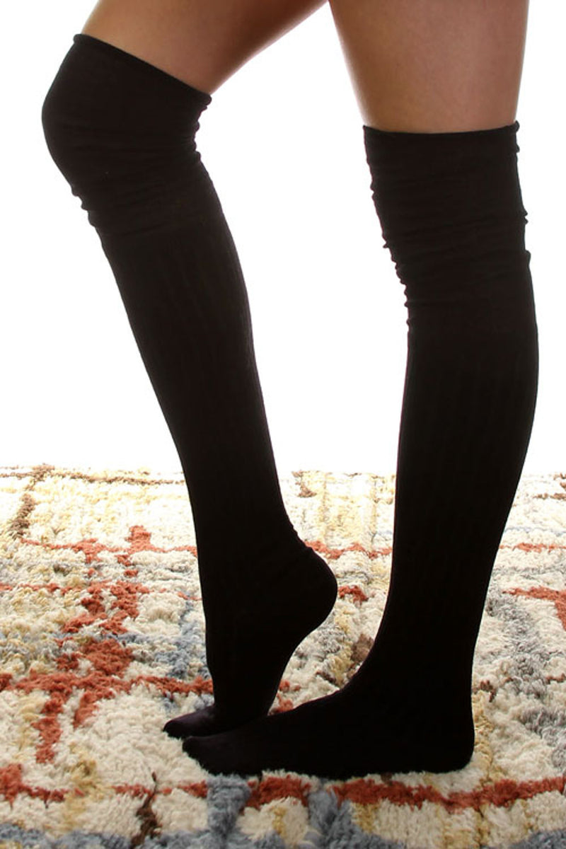 Jersey Over The Knee Socks-Black