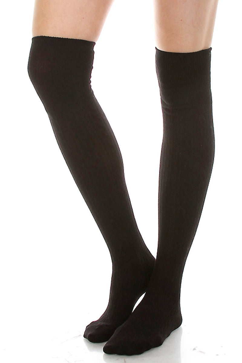 Cotton Cable Over The Knee Socks-Black