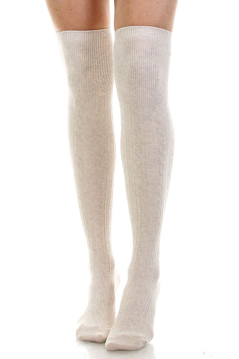 Cotton Cable Over The Knee Socks-Oatmeal