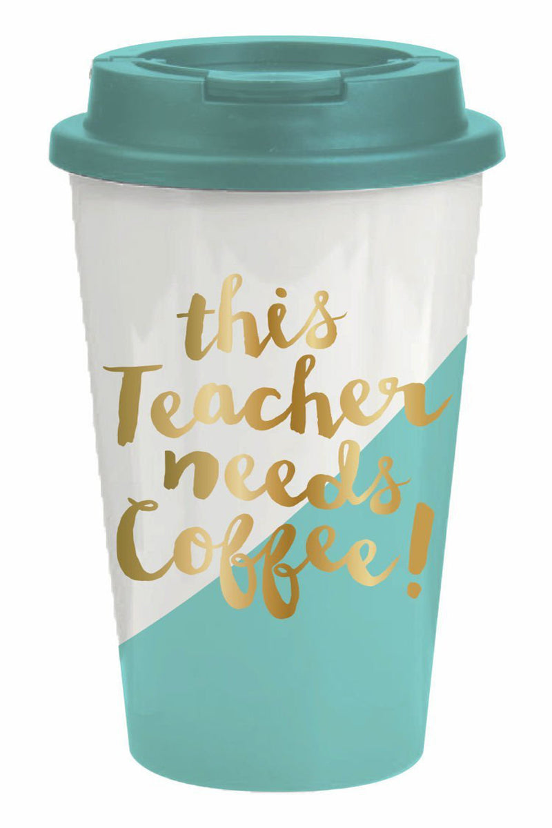 Slant Collections-This Teacher Needs Coffee Travel Mug-Teal/Gold