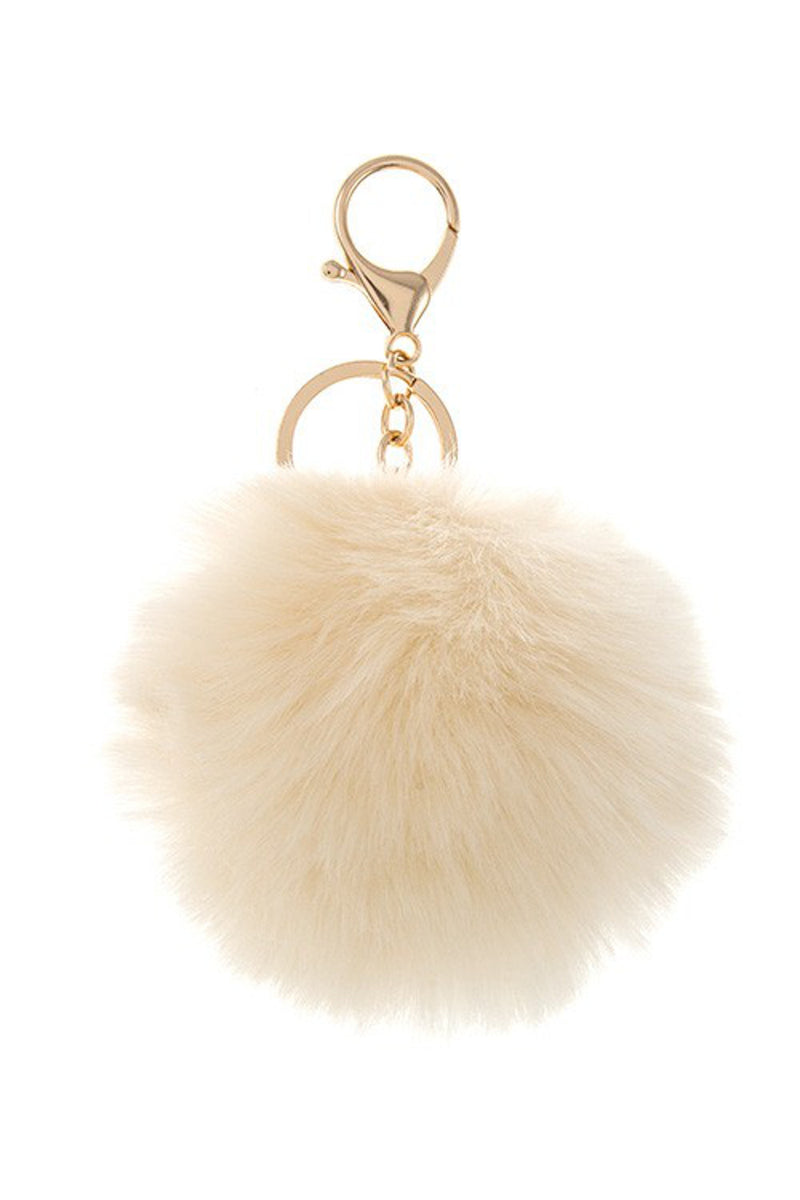 Pom Pom Key Chain-White