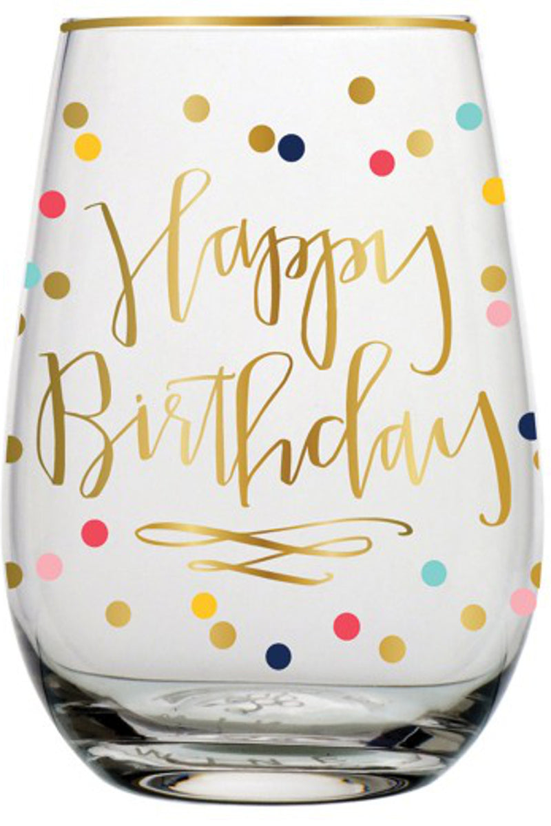 Slant Collections-Happy Birthday Stemless Wine Glass -Gold