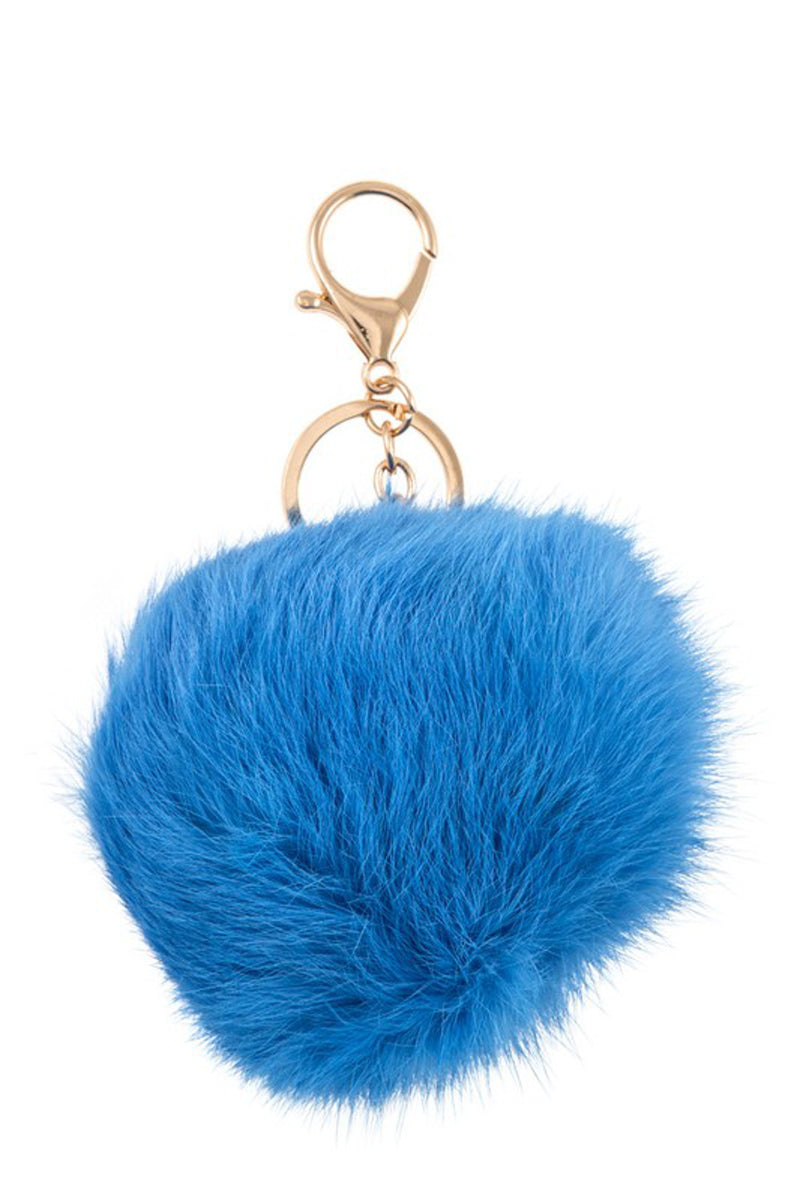 Pom Pom Key Chain-Blue