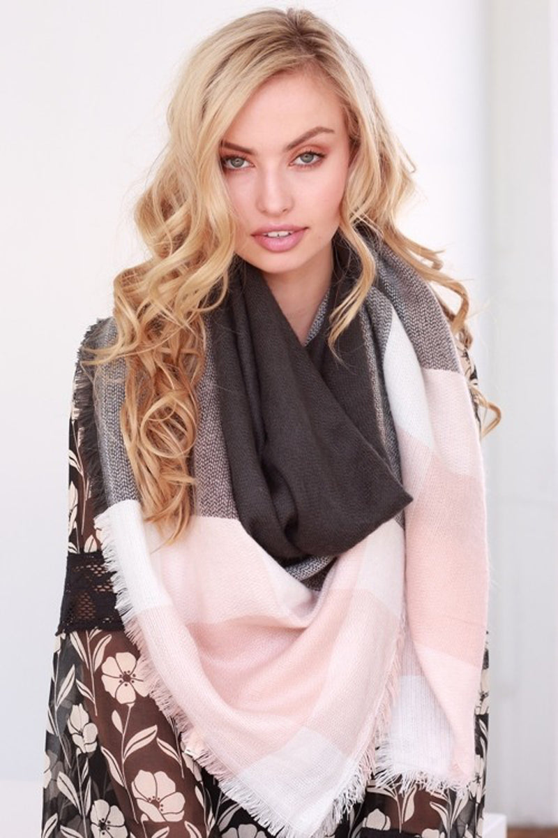Two Tone Blanket Scarf-Charcoal