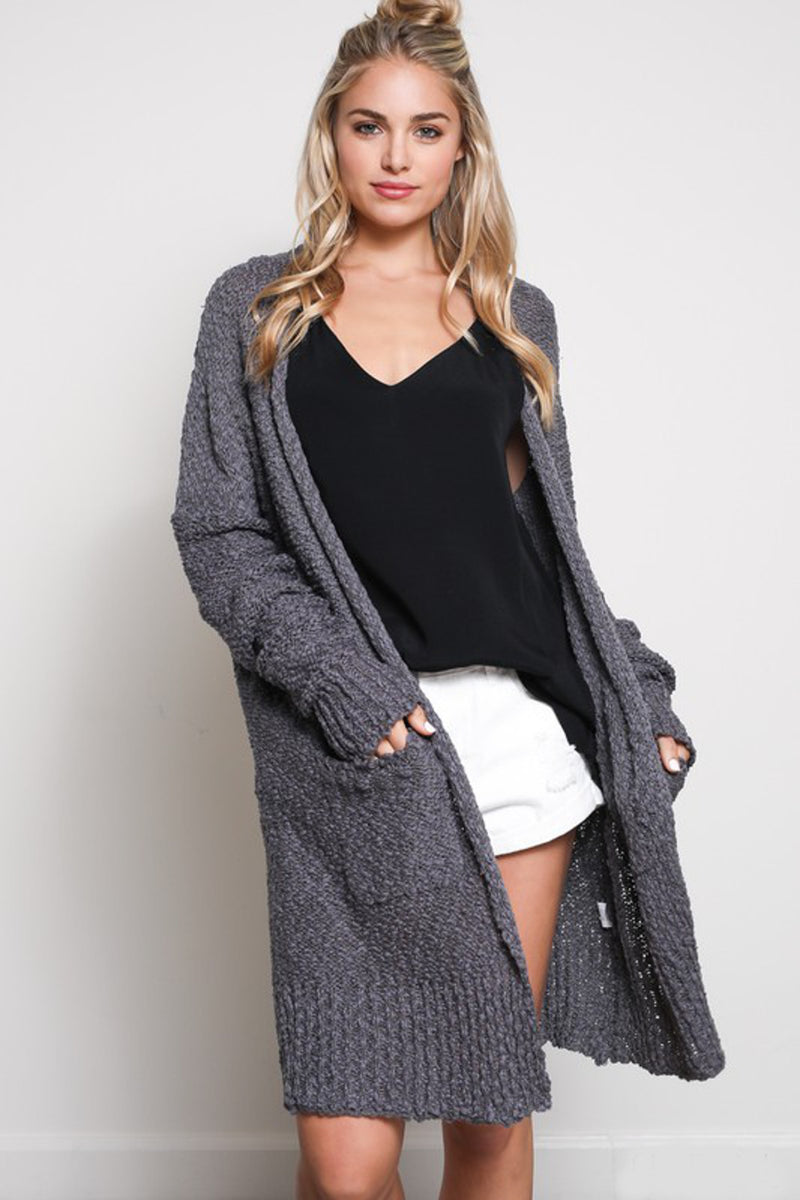 Pass The Popcorn Cardigan-Charcoal
