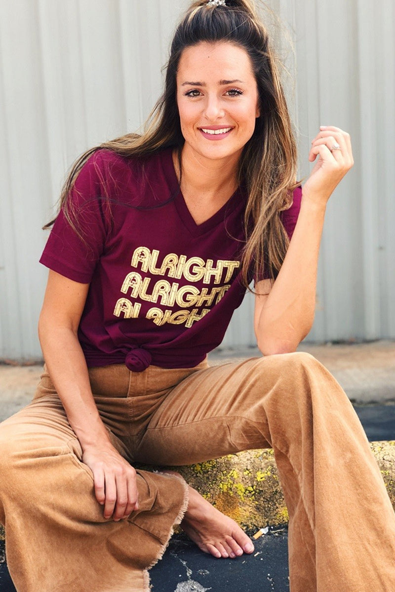 Alright, Alright, Alright Tee-Dark Maroon