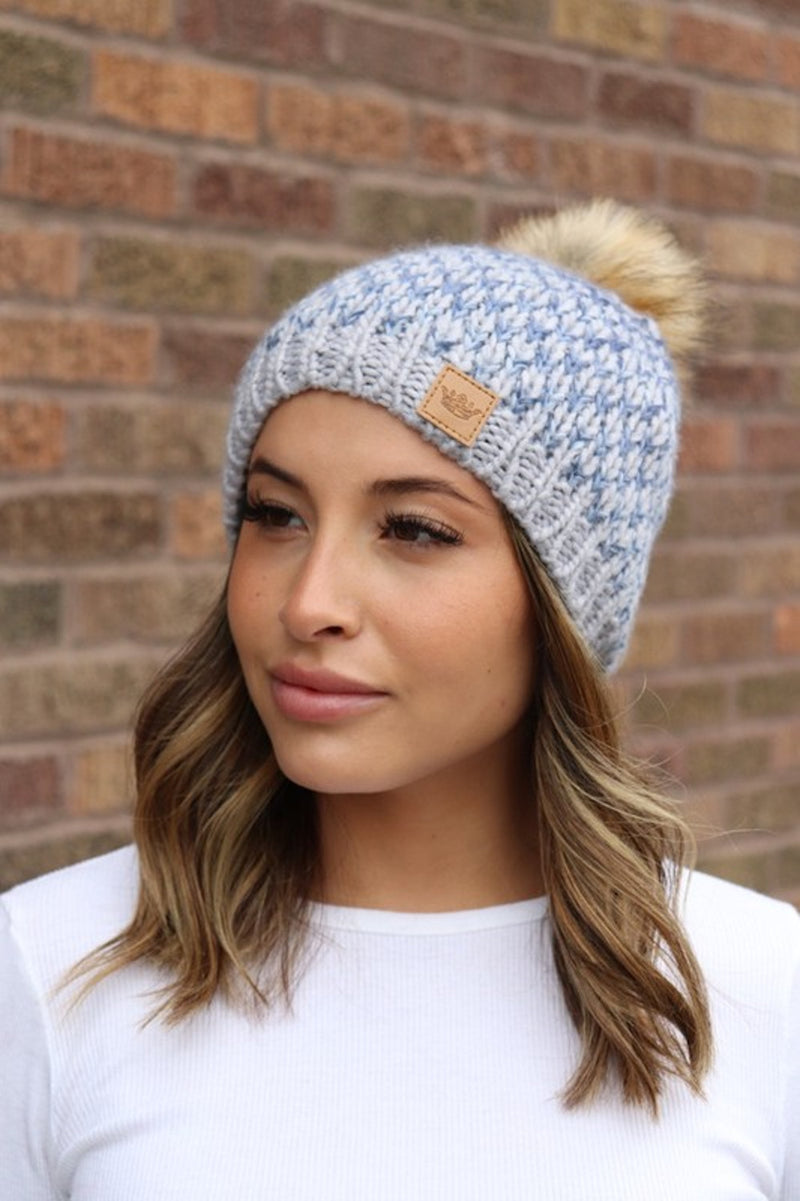 SALE-Patterned Fleece Lined Beanie-Grey