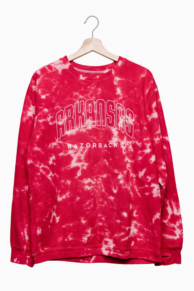 Arkansas Razorbacks Gault Red Cloud Tie Dye Corded Crew Sweatshirt