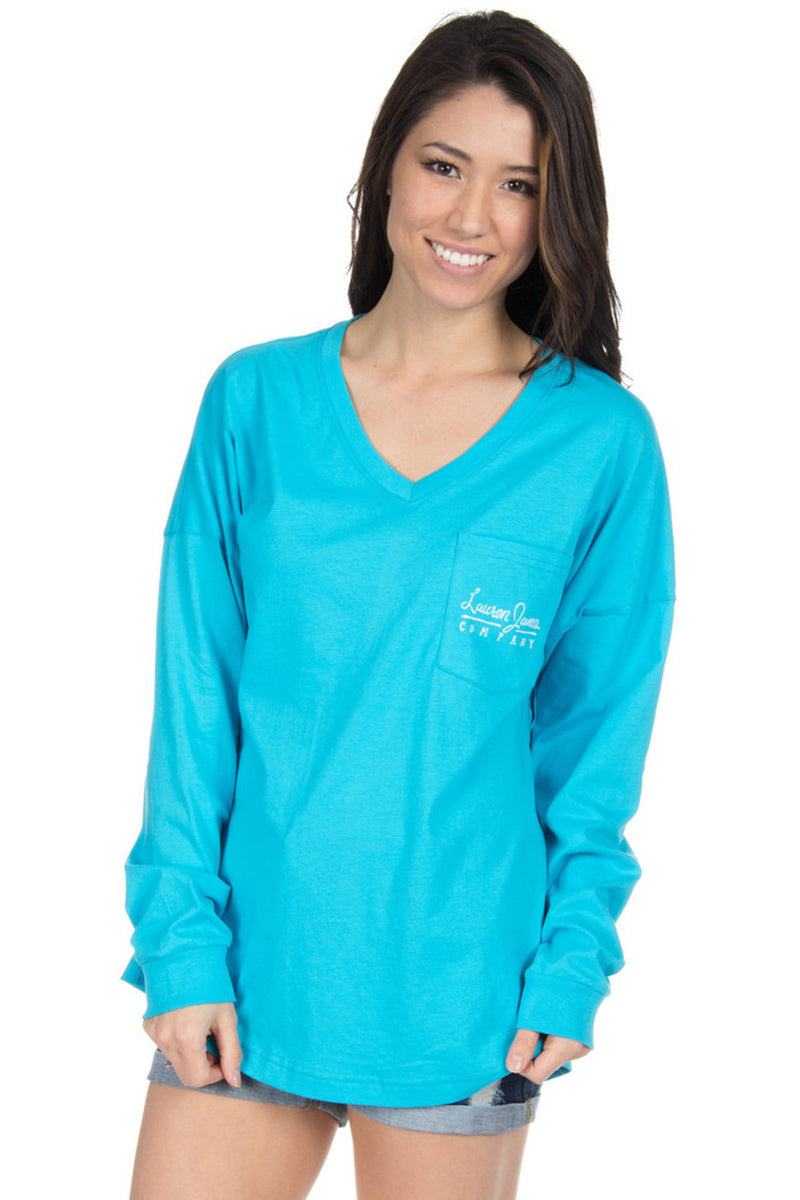 SALE- Lauren James-Logo Jersey-Glacier Blue