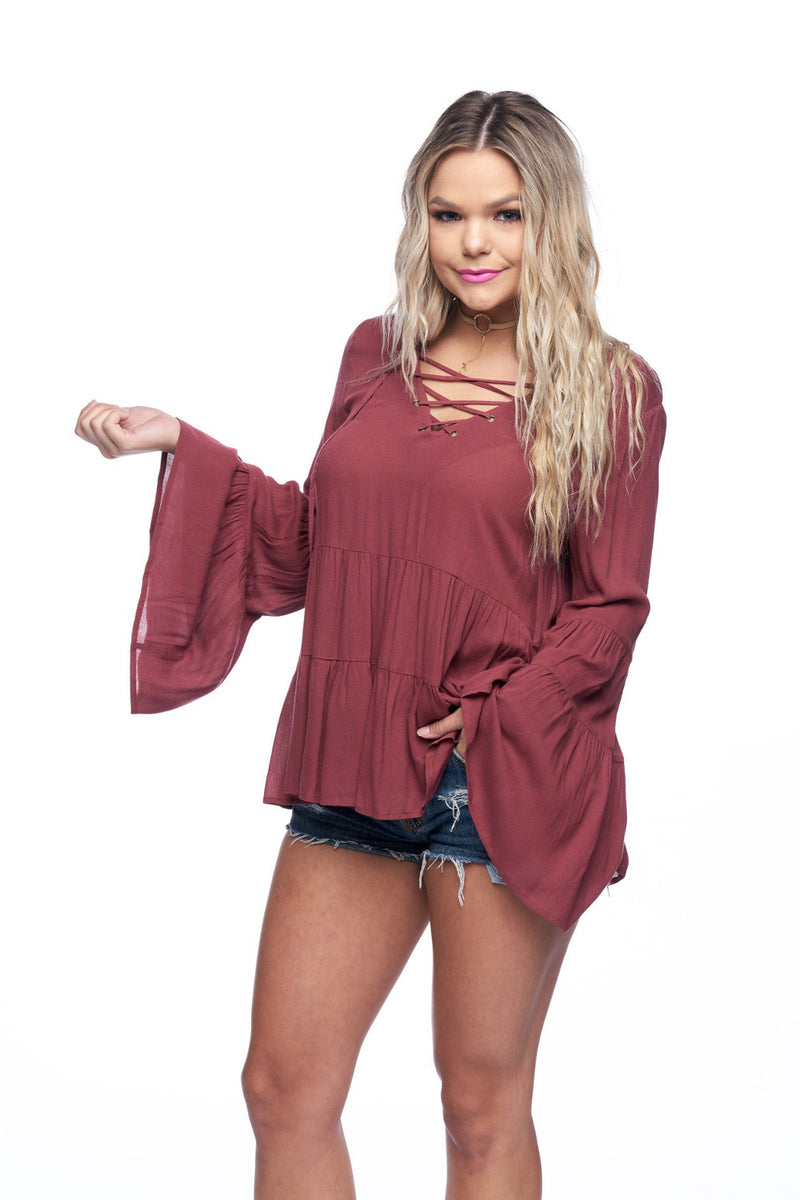 Smell The Roses-Gloria Crisscross Top-Rust