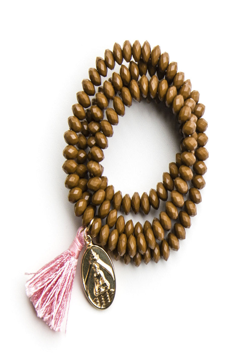 Shira Melody-Carly Bracelet/Necklace-Brown/Pink