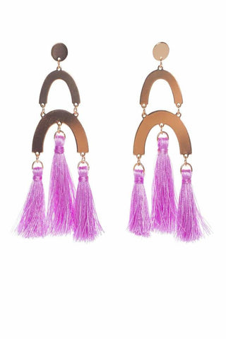 Cotton Tassel Pendant Necklace Set-Pink