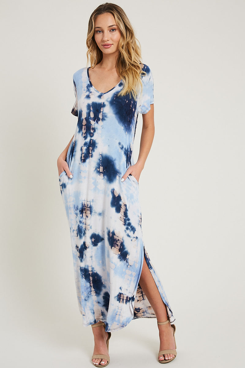 One And Only Tie-Dye Maxi Dress - Navy