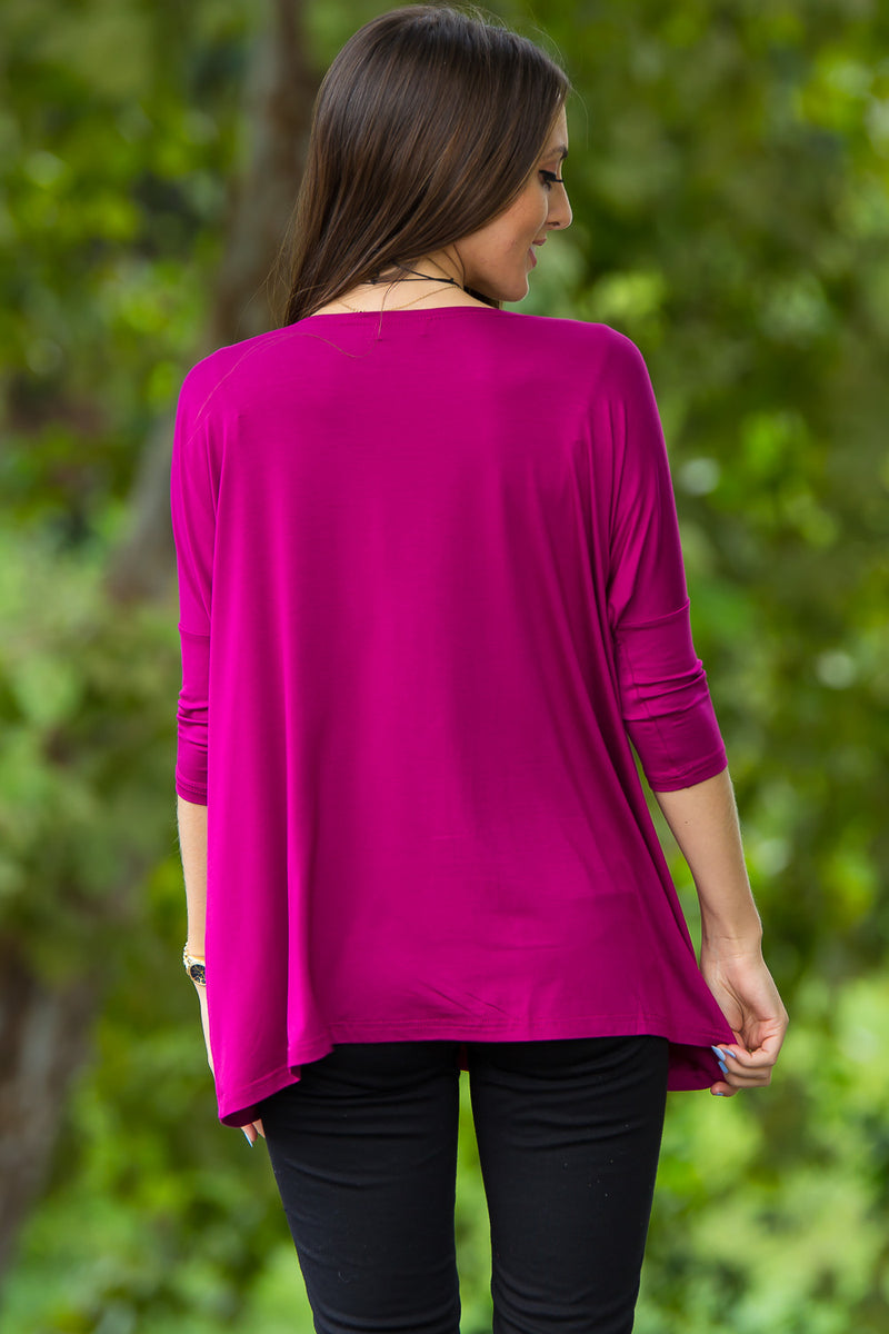 The Perfect Piko 3/4 Sleeve Top-Bright Fuchsia