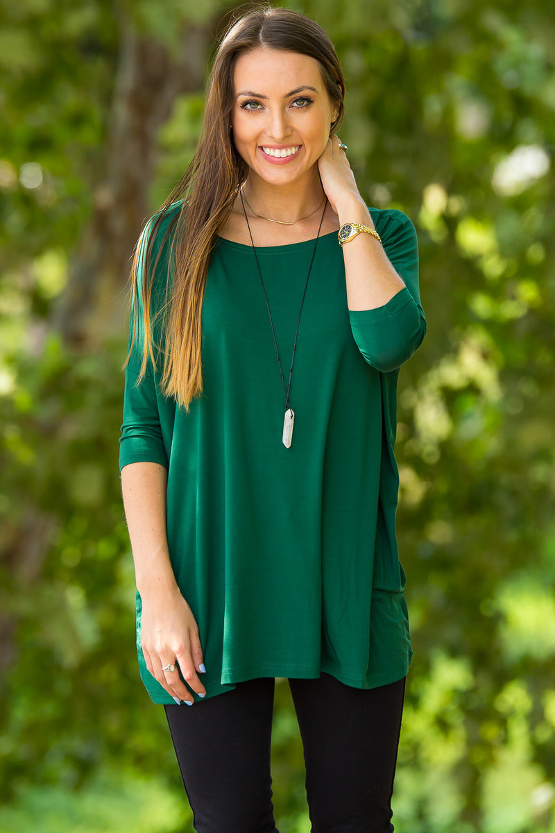 The Perfect Piko 3/4 Sleeve Top-Forest Green