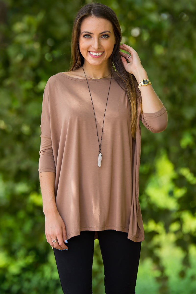 The Perfect Piko 3/4 Sleeve Top-Mocha