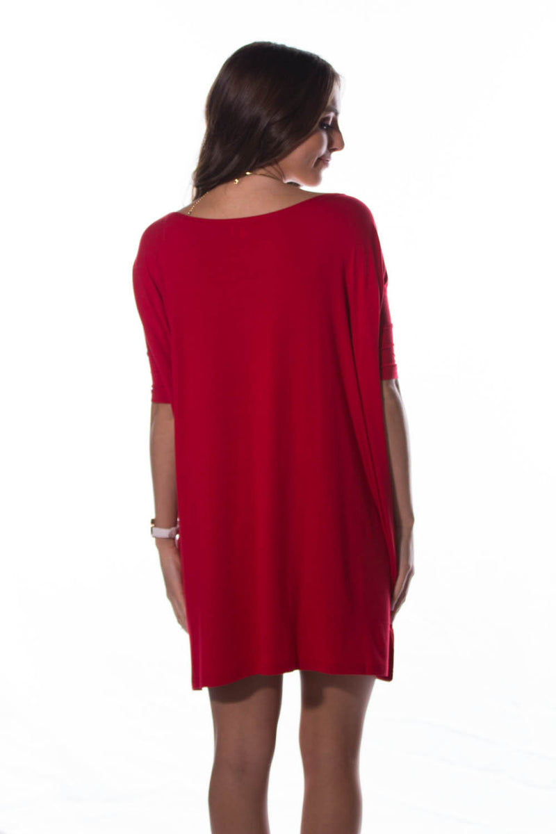 The Perfect Piko Half Sleeve Tunic-Red
