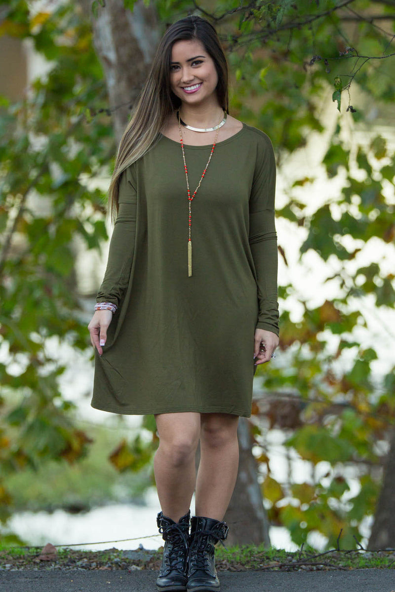 The Perfect Piko Tunic Top-Dark Olive
