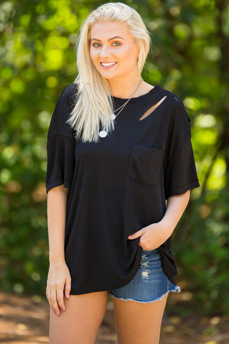 All Ripped Up Knit Top-Black