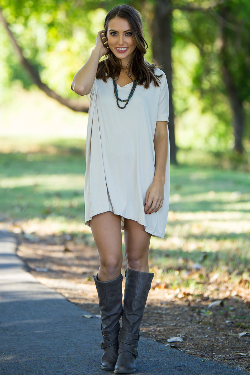 The Perfect Piko Short Sleeve V-Neck Tunic-Sand
