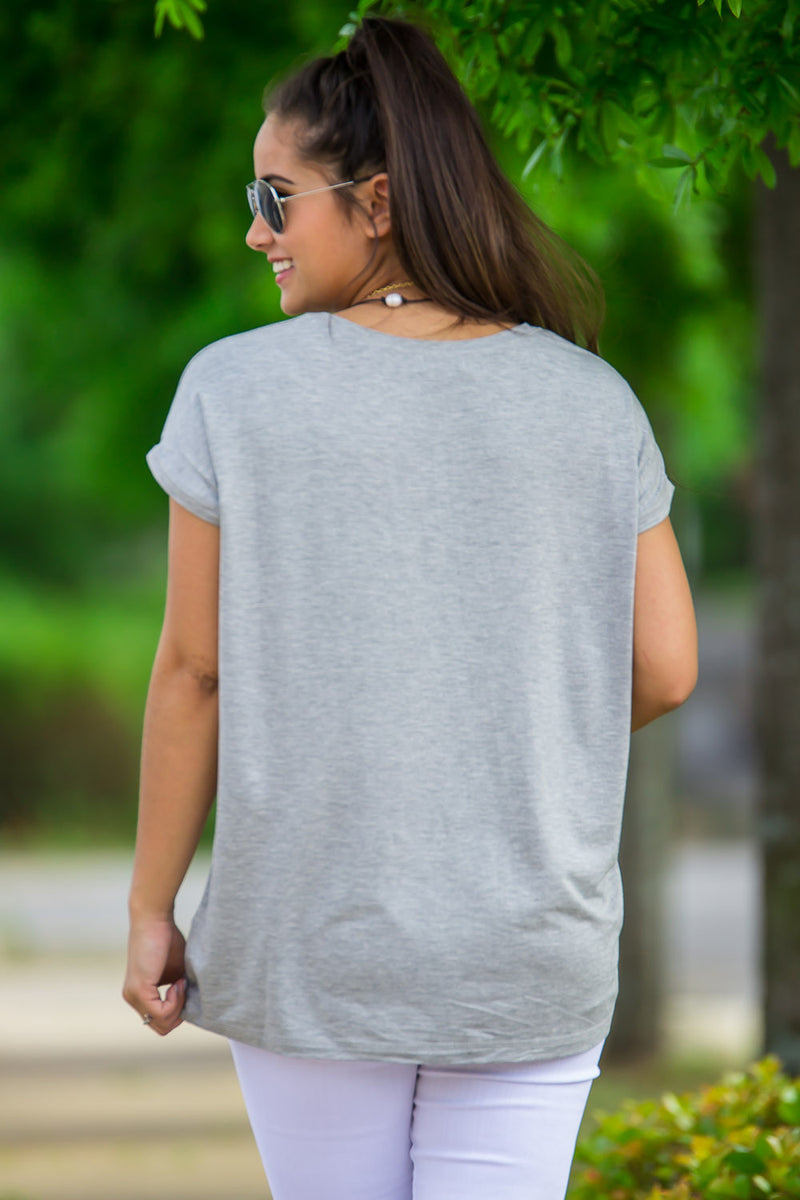 The Perfect Piko Rolled Short Sleeve Top-Heather Grey