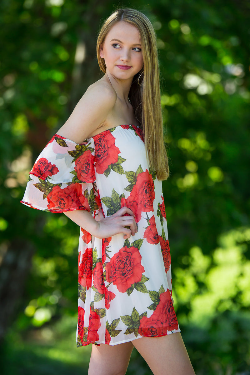 Time To Bloom Dress-White/Red/Olive