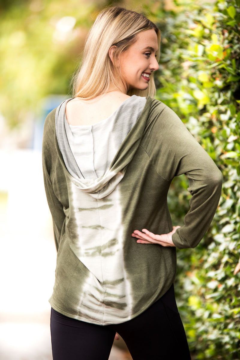 SALE - Wind Down Top-Ivory/Olive