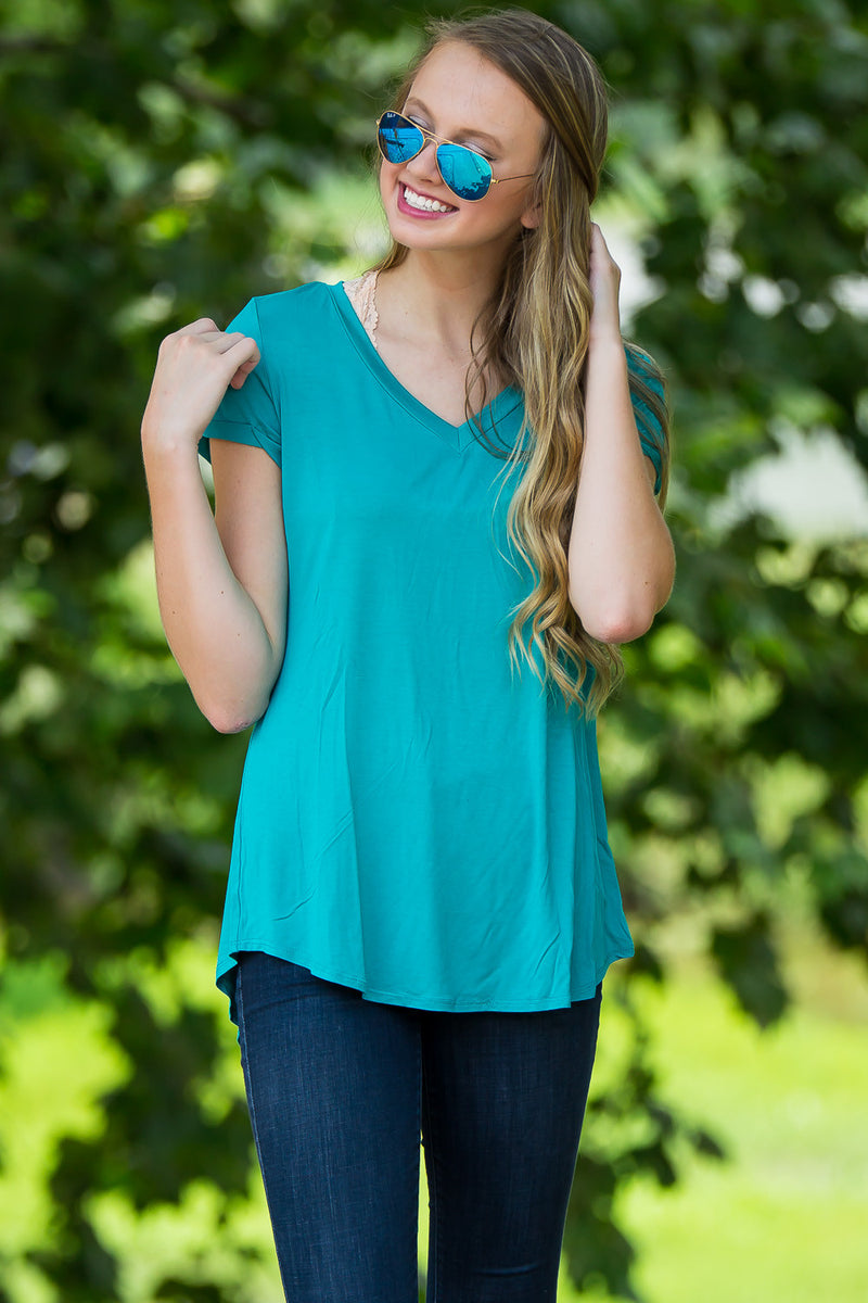 Adrienne-V-Neck Tee With Pocket-Jade