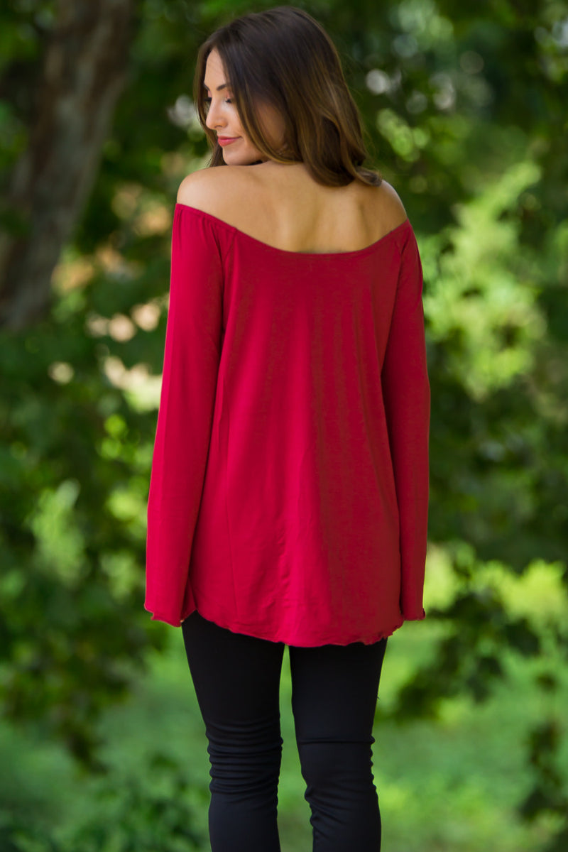 The Perfect Piko Off The Shoulder Bell Sleeve Top-Red