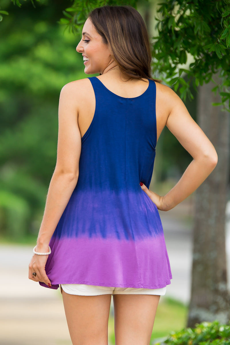 The Perfect Piko Ombre Swing Tank-Purple