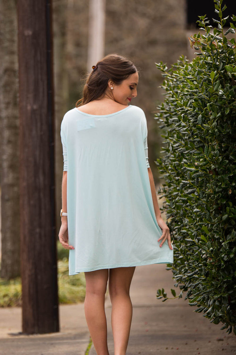 The Perfect Piko Half Sleeve Tunic-Mint