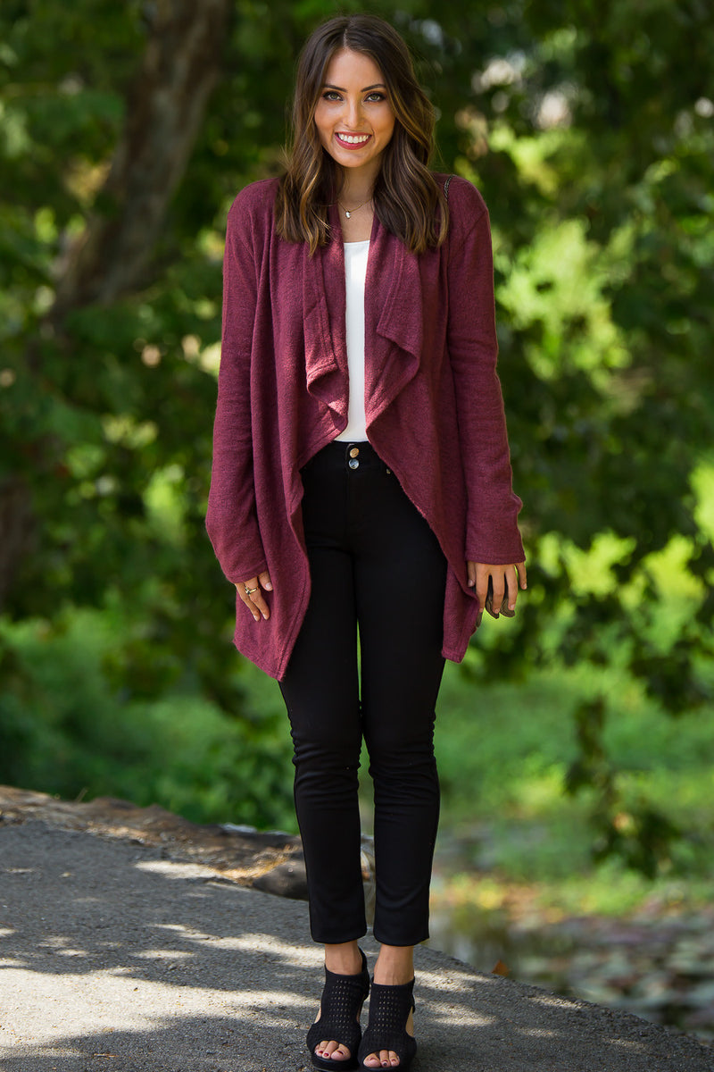 Piko-Knitted Open Cardigan-Wine