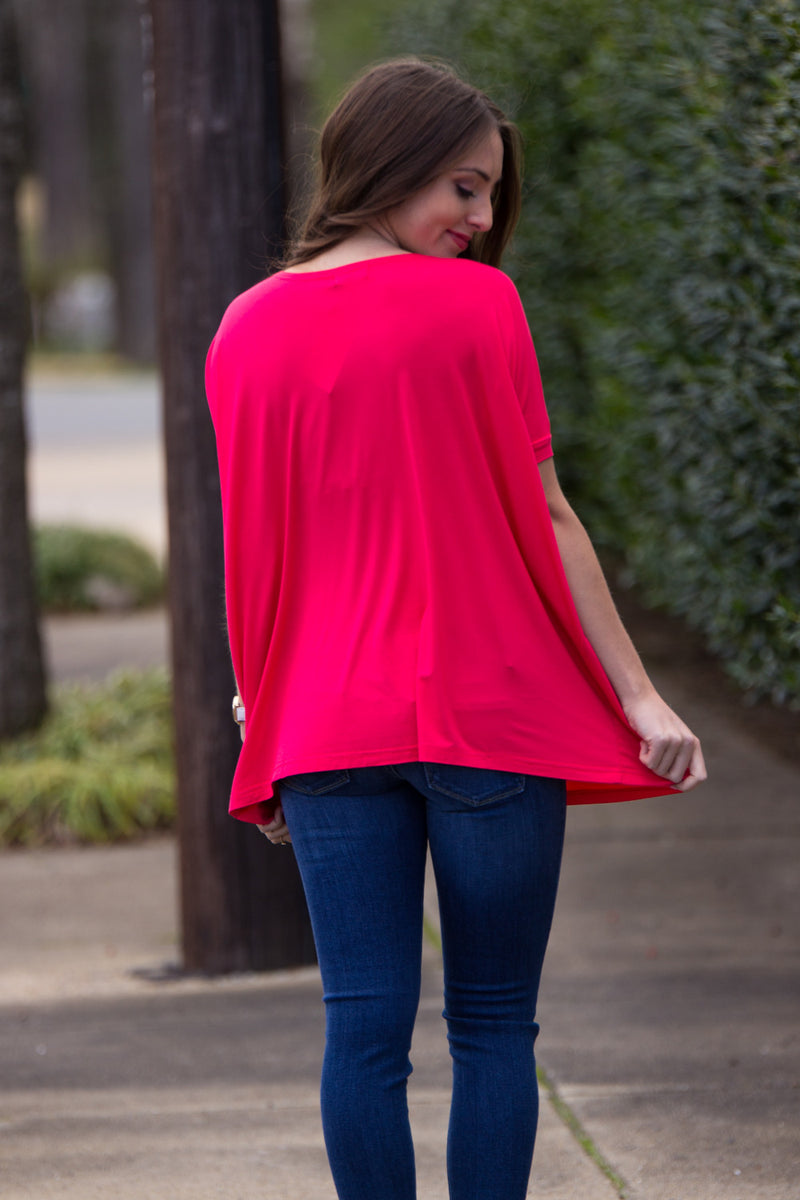 The Perfect Piko Short Sleeve Top-Watermelon