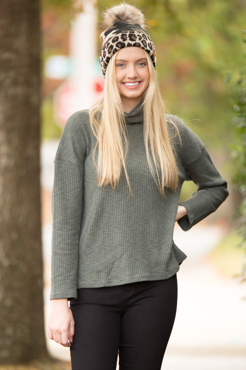 Ribbed All About Knit Top - Olive