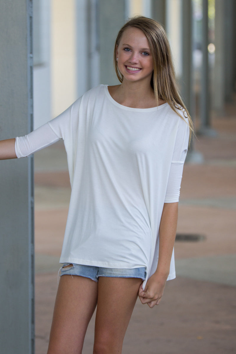 The Perfect Piko 3/4 Sleeve Top-Off White