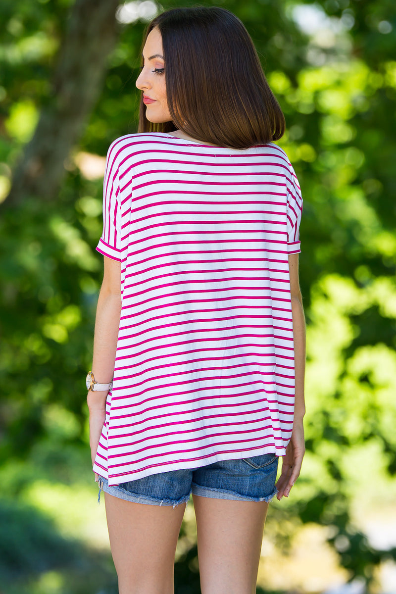 The Perfect Piko Short Sleeve Tiny Stripe Top-White/Fuchsia