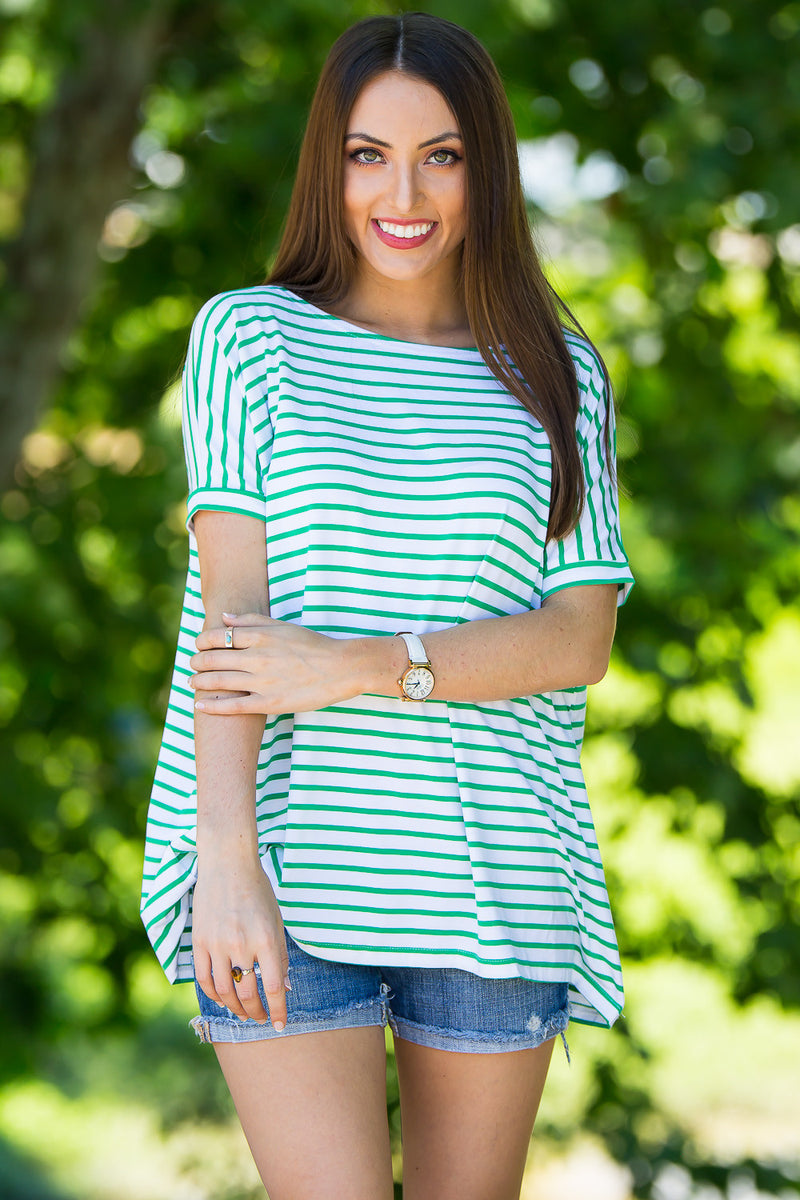 The Perfect Piko Short Sleeve Tiny Stripe Top-White/Green
