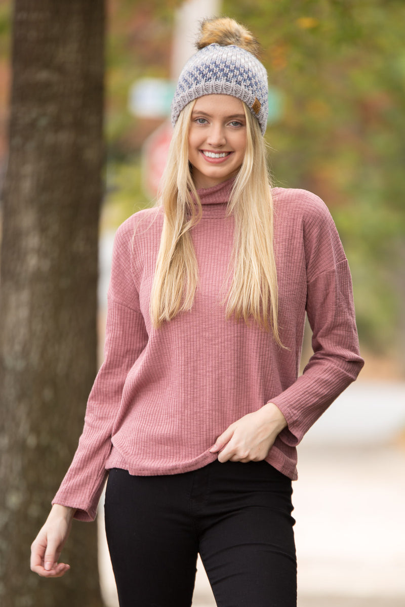 Ribbed All About Knit Top - Mauve
