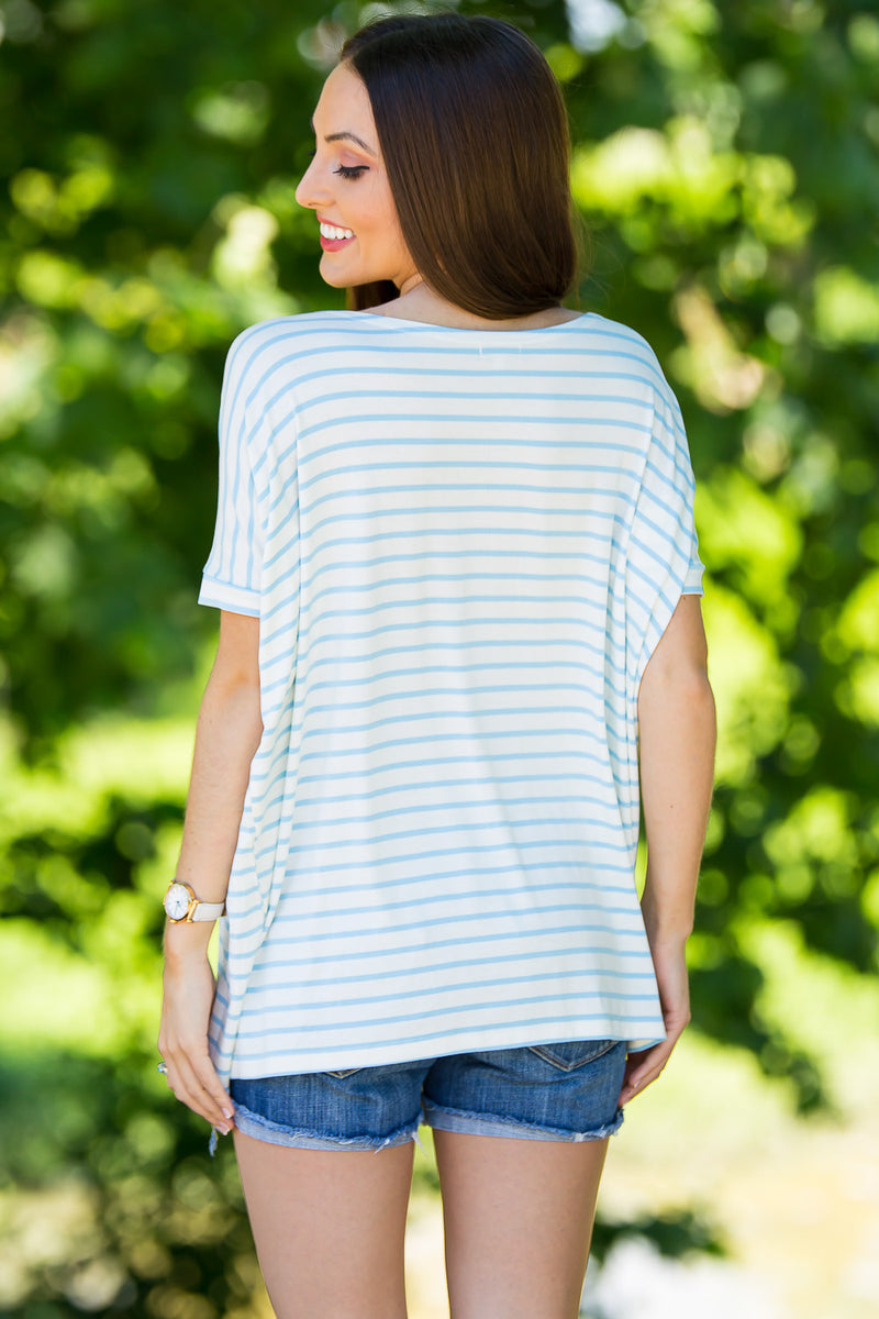 The Perfect Piko Short Sleeve Tiny Stripe Top-White/Baby Blue