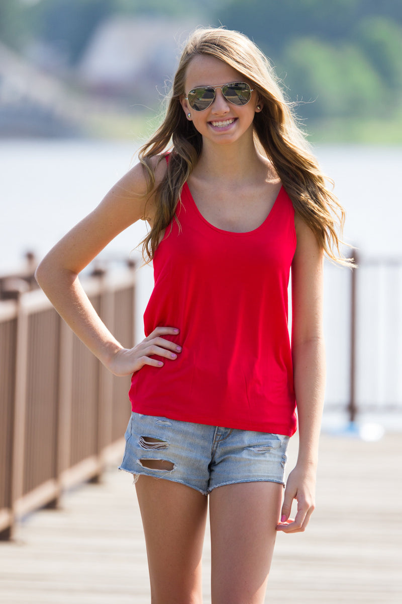 The Perfect Piko Tank Top-Red